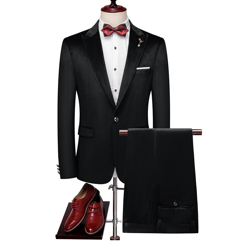 Men Black Velvet Tuxedo + Pants