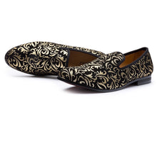 Men's Gold Black Loafers Shoes