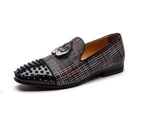 Men Gray Spikes Rhinestones Loafers