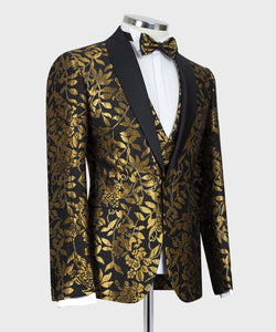 Men's Gold Black Print Tuxedo + Vest + Pants