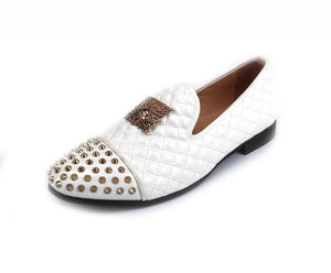 Men's Gold Buckle White Leather Loafers