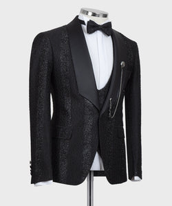 Men's Black Tuxedo + Vest + Pants