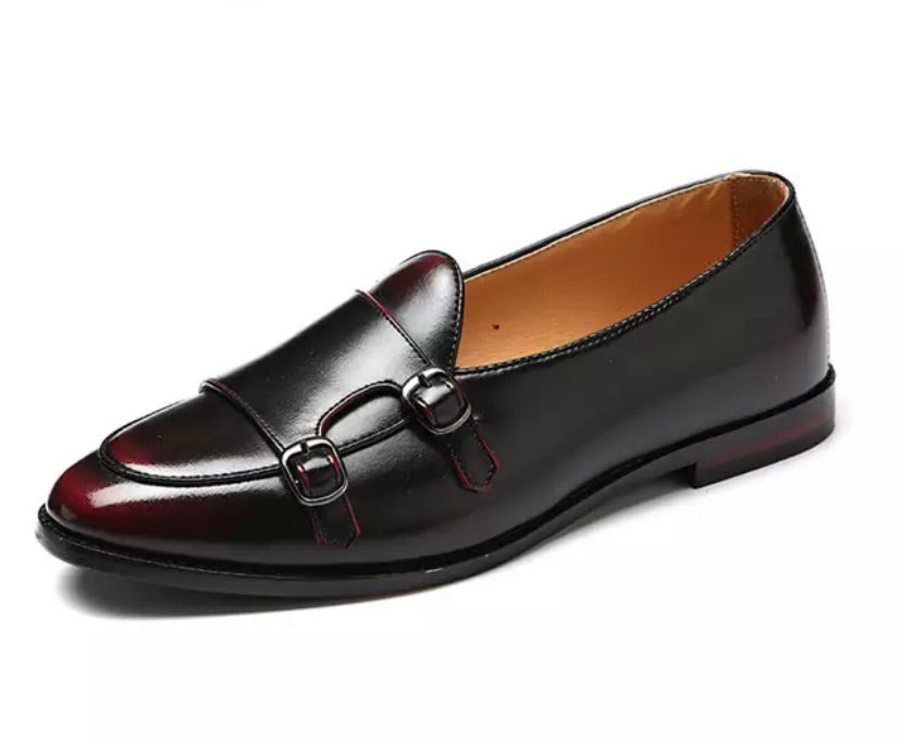 Mens Wine Red Leather Shoes