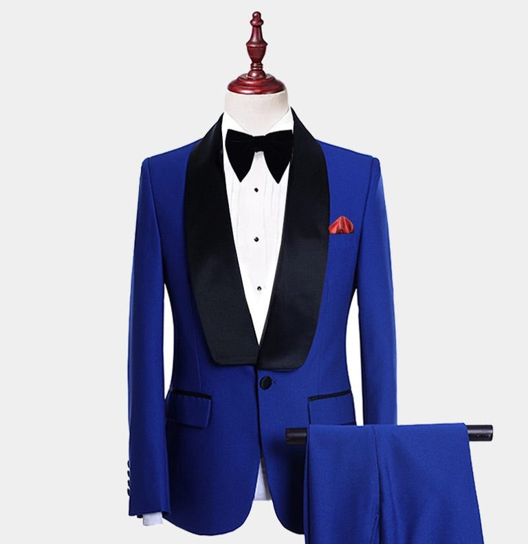 Men Blue Black Lapel 3 Piece Tuxedo