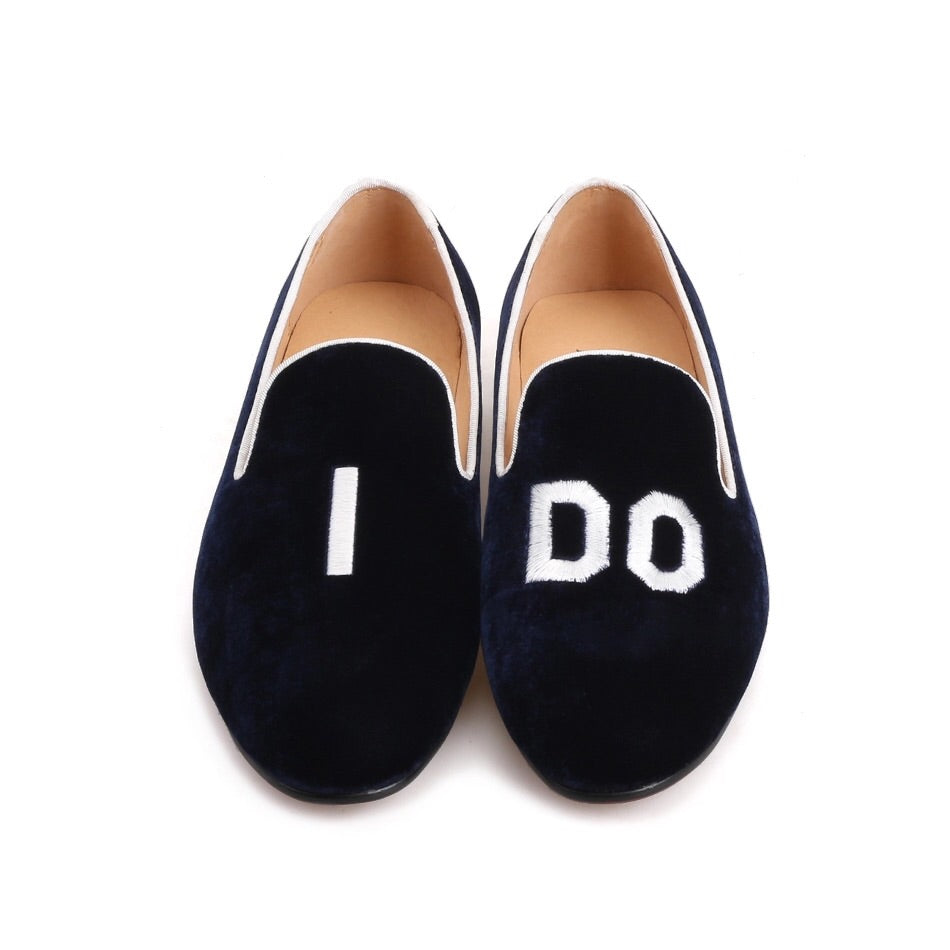Men Initial Embroidery Loafers