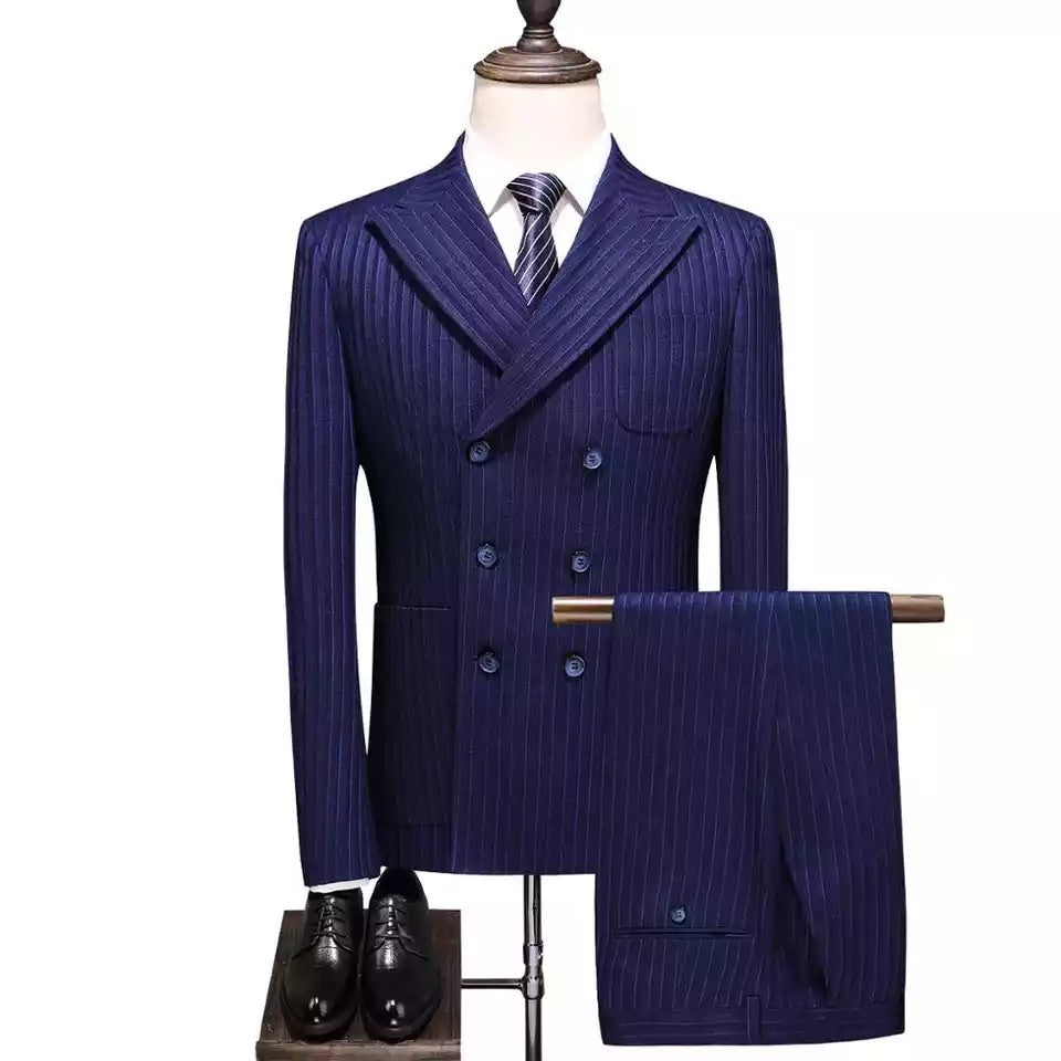 Men Double Breasted Striped 3 piece suit + pant