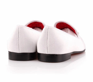Men White Velvet  Rhinestones Loafers