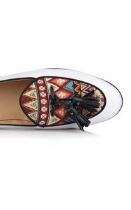 Men's White Canvas Ethnic Print Loafers