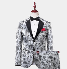 Men's 3 Piece White Black Floral Tuxedo