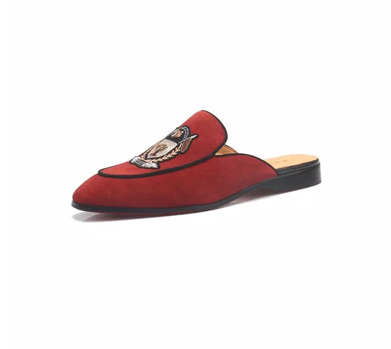 Men's Red Embroidered Loafers