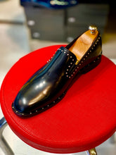 Men's Black leather Dots Loafers