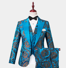 Men Royal Blueish  Floral 3 Piece Tuxedo