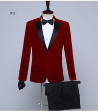 Men Red Velvet Tuxedo + Pants