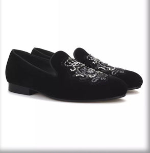 Men's hand-stitch crown bee embroidery Loafers