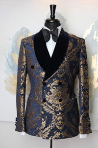 Men's NAVY AND GOLD FLORAL TUXEDO