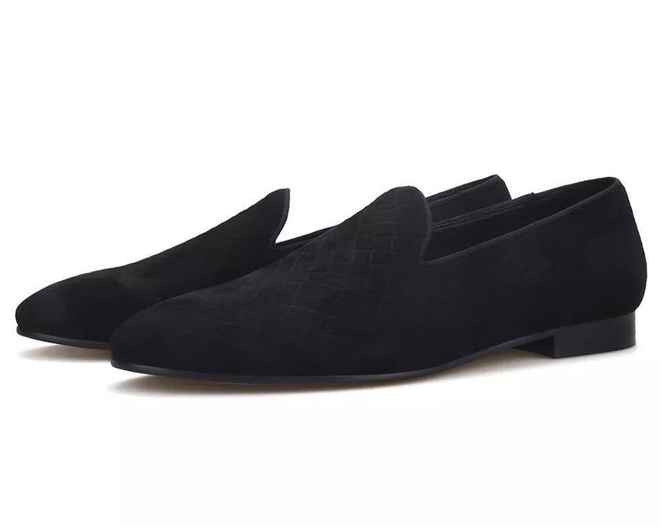 Men's weave black loafers