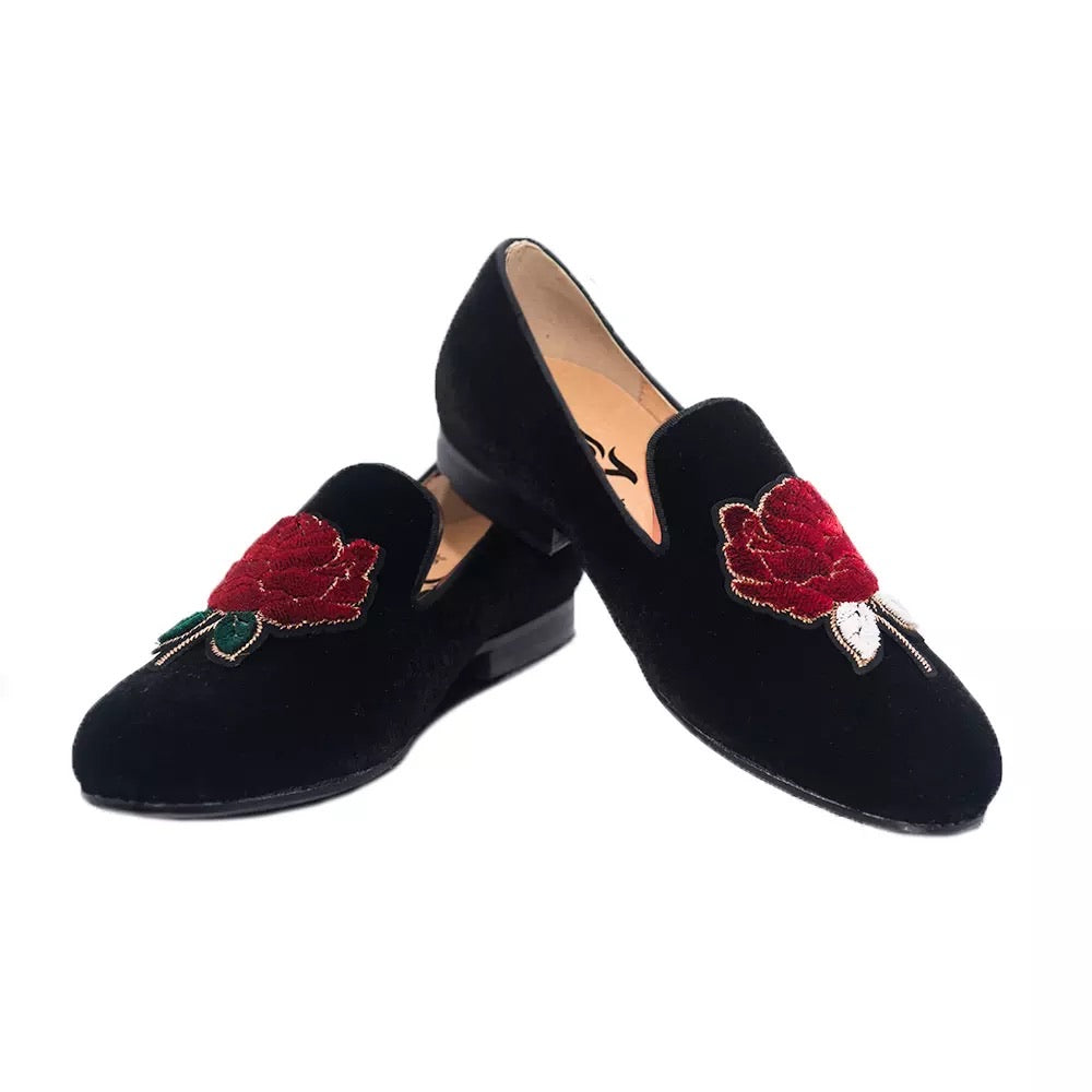 Men's embroidery roses velvet loafers