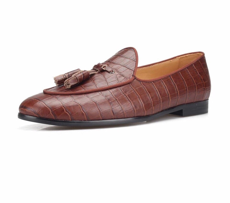 Men's Brown Crocodile Loafers