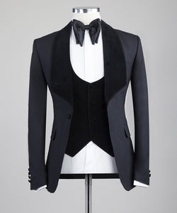 Men's 3 Black Lapel Piece Tuxedo