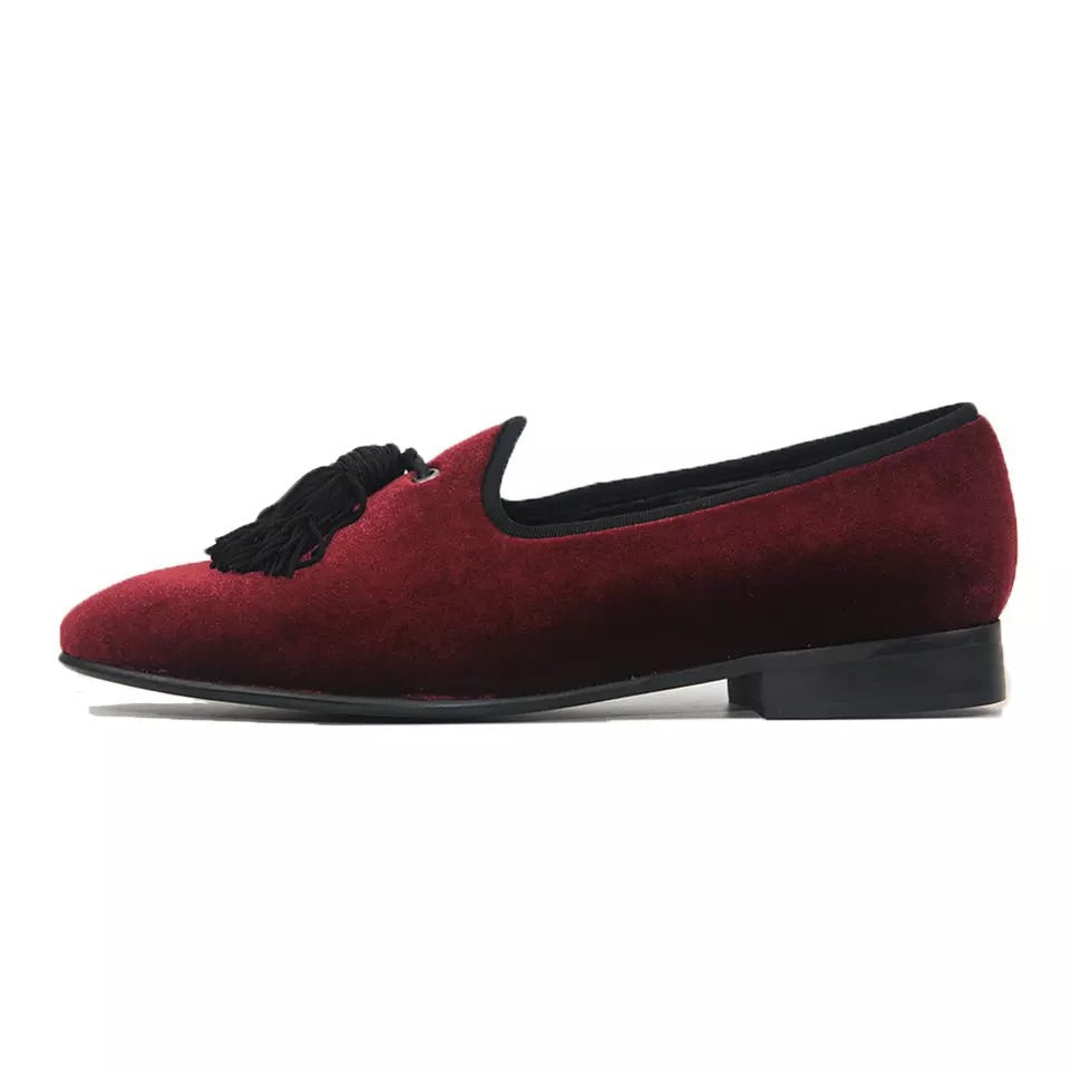 Men's Tassel Velvet Slippers