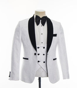 Men's White Black Lapel 3 Piece Tuxedo