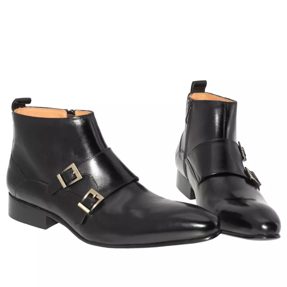 Men's Buckle Strap Zip Ankle Boots