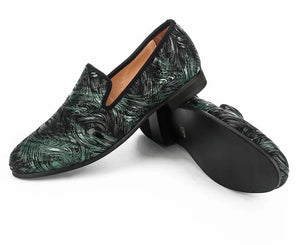 Men Green fabric print Loafers