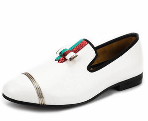 Men White Buckle Loafers