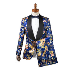 Men Tuxedos Blue Flower Print + Pants