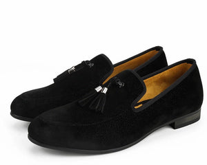 Men Black Tassel Loafers