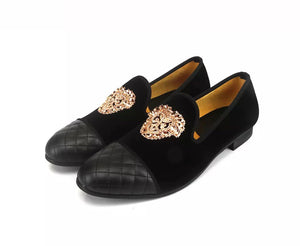 Men's Gold Buckle Velvet Leather Loafers