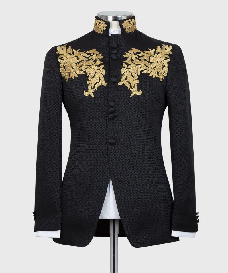 Men's Black Embroidery Tuxedo + Pants