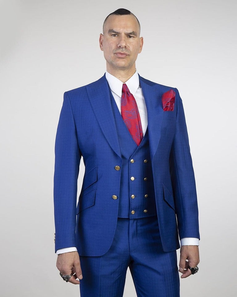 Men's Blue Suit + Vest + Pants