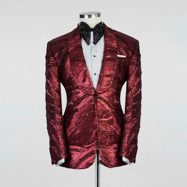 Men Red Design TUXEDO + Pant