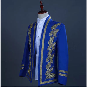 Men's Gold Embroidery Blue 2 Piece Tuxedo