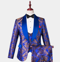 Men Royal Blue Gold Floral 3 Piece Tuxedo