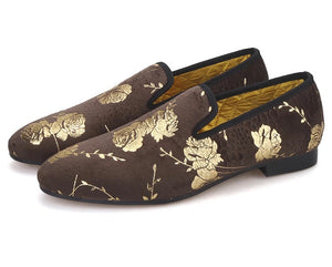 Men's Brown flower print Loafers