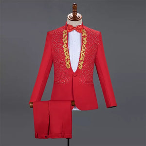 Men's Embroidery Blazer + Pants + BowTie