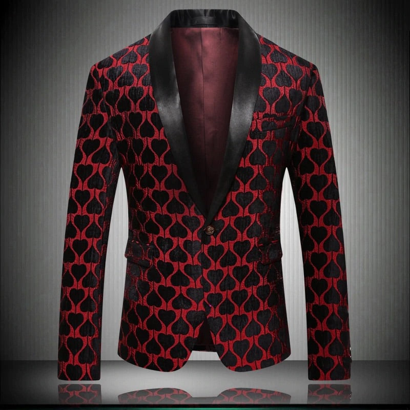 Men Red Print Blazer
