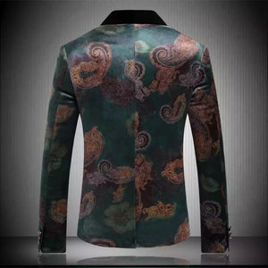 Men Green Print Blazer