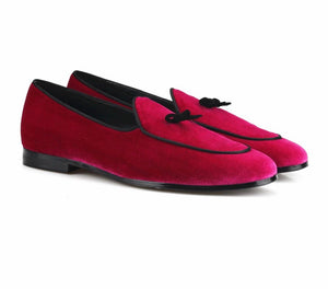 Men's Rose Velvet Loafers