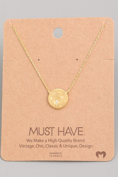 Circle Coin Star Charm Necklace