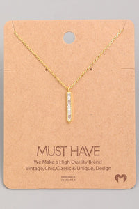 Studded Bar Pendant Necklace