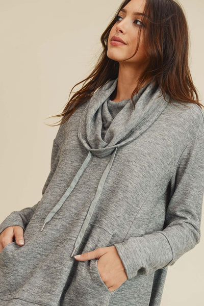 Cowl neck high low with thumb holes - the Ripley