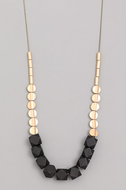 Beaded Black & gold necklace
