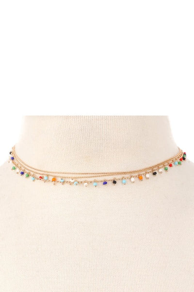 Dainty layered colorful necklace