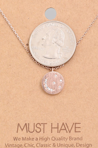 Circle Coin Moon Charm Necklace