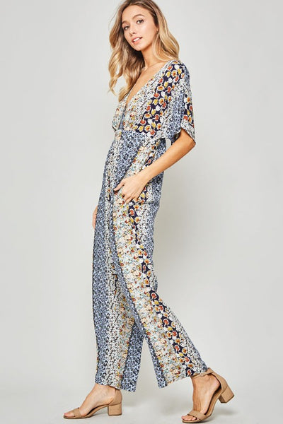 Paisley open back jumpsuit