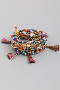 Assorted Bead Tassel Bracelet Set