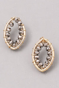 Beaded Oval Stud earring